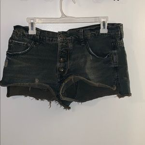 free people black semi high waisted shorts